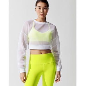 ALO Row Mesh Sheer Cropped Pullover Sweatshirt